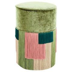 Green Couture Geometric Stripe Pouf