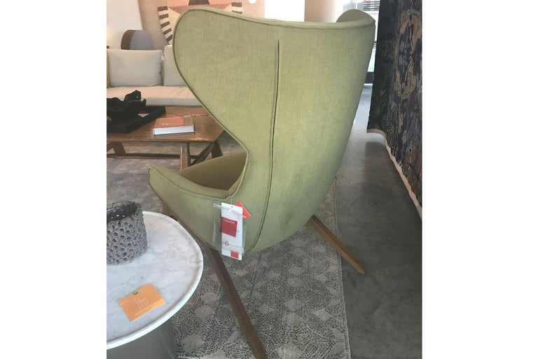 Other Green Covered Modern Wing Chair with Walnut, Cassina For Sale