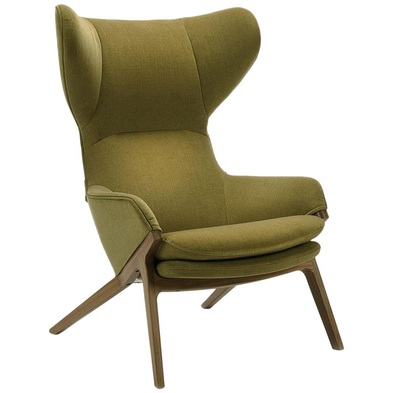 Green Covered Modern Wing Chair with Walnut, Cassina For Sale