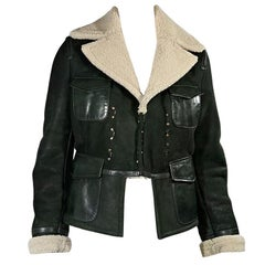 Green & Cream Dsquared2 Shearling Jacket