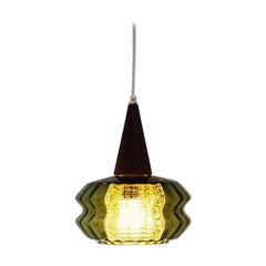 Green Crystal and Teak Pendant Designed by Carl Fagerlund for Orrefors, 1960s