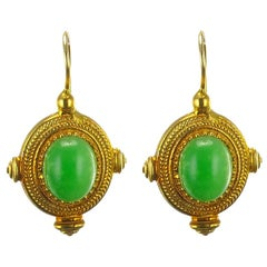 Green Crystal Greek Revival Vermeil Drop Earrings