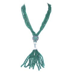 Green Crystal Panther Head Tassel Necklace c. 1990s