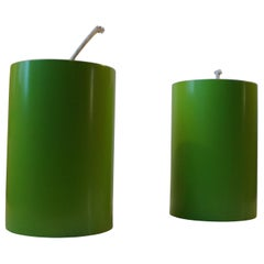 Green Cylindrical Pendant Lamps from Louis Poulsen, 1970s