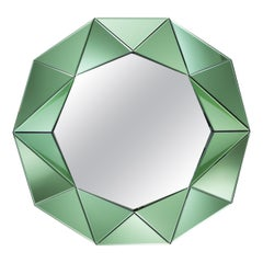 Green Decagonal Wall Mirror