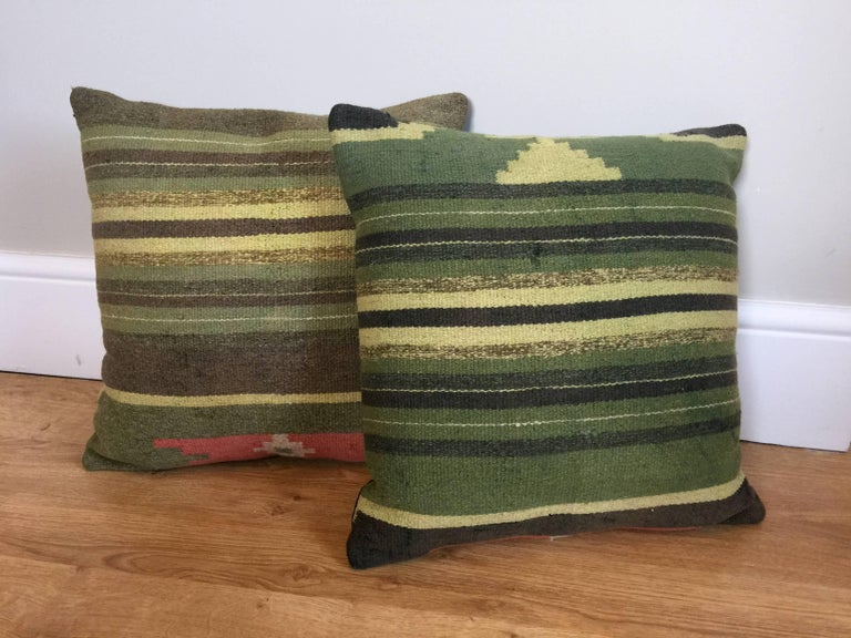 Turkish Green Decorative Pillows Handwoven Kilim Decorative Pillow Bench Cushion Cover For Sale