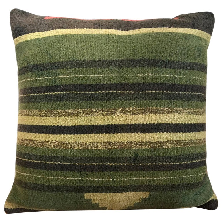 Green Decorative Pillows Handwoven Kilim Decorative Pillow Bench Cushion Cover For Sale