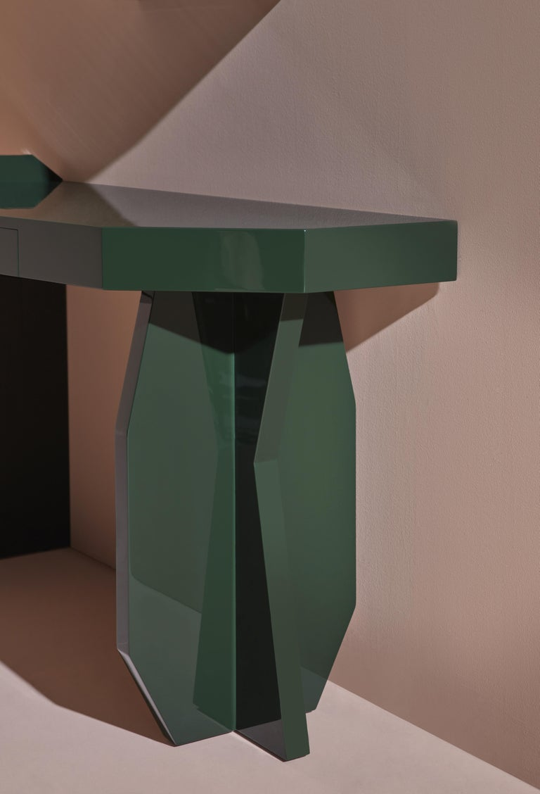 Modern Green Desk, desk and mirror in glossy lacquered green MDF, Kiki Van Eijk For Sale