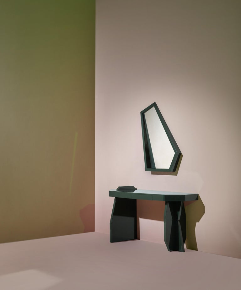 Italian Green Desk, desk and mirror in glossy lacquered green MDF, Kiki Van Eijk For Sale