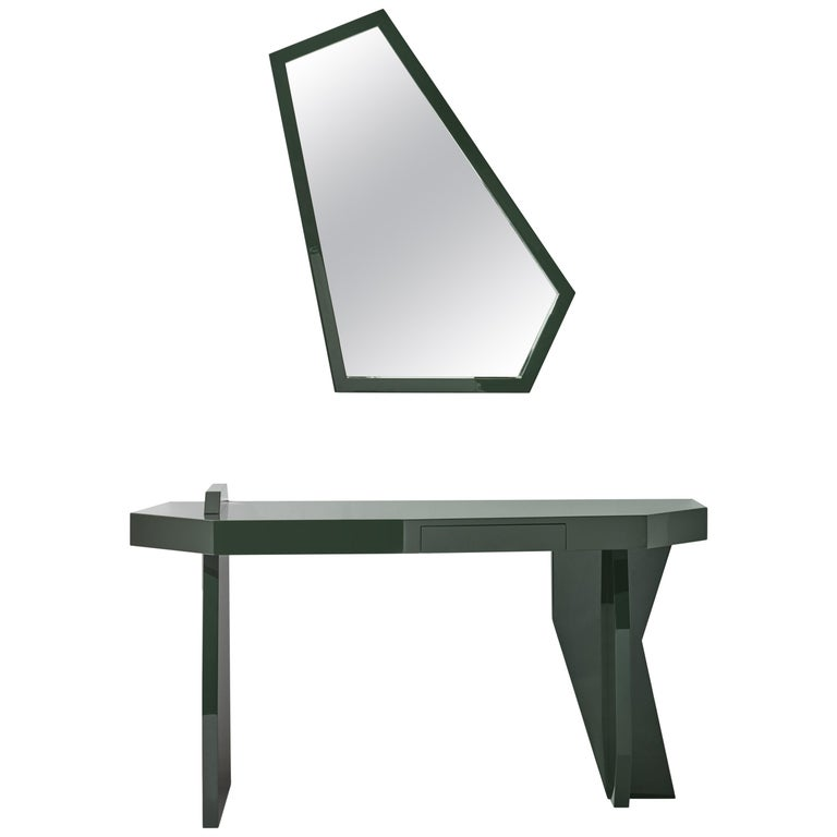 Green Desk, desk and mirror in glossy lacquered green MDF, Kiki Van Eijk For Sale
