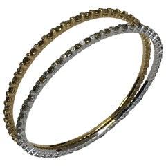 Green Diamond and White Diamond Bangle Bracelets in 18 Karat Two-Tone Gold