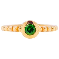 Russian Chrome Diopside Ring, 14 Karat Gold Green Diopside Handmade Stackable Rg