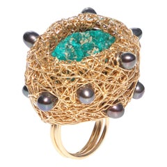 Green Dioptase and Grey Freshwater Pearls in Yellow Gold Cocktail Ring by SWL