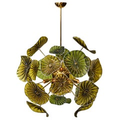 Green Disc Murano Glass Chandelier
