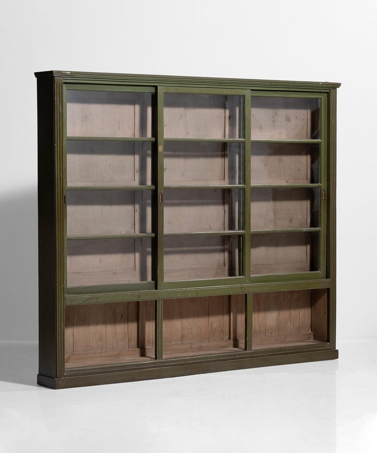 English Green Display Cabinet For Sale