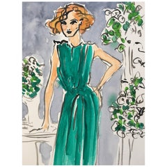Green Dress, Watercolor on Paper
