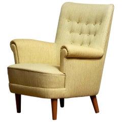 """Green Easy Arm Lounge Chair """"Samsas"""" by Carl Malmsten for Oh Sjogren, 1950s"""