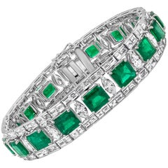 Green Emerald and Diamond Bracelet