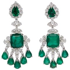 Green Emerald and Diamond Chandelier Earring