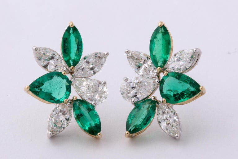 Women's Green Emerald and Diamond Cluster Earrings For Sale
