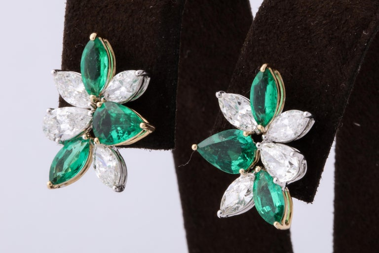 Green Emerald and Diamond Cluster Earrings For Sale 2