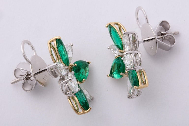 Green Emerald and Diamond Cluster Earrings For Sale 3