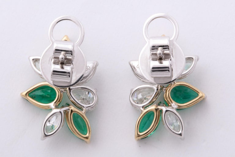 Green Emerald and Diamond Cluster Earrings For Sale 4