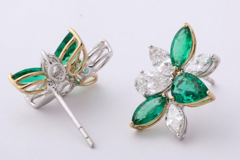 Green Emerald and Diamond Cluster Earrings For Sale 5