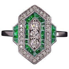 Art Deco Green Emerald White Diamond Cocktail Ring