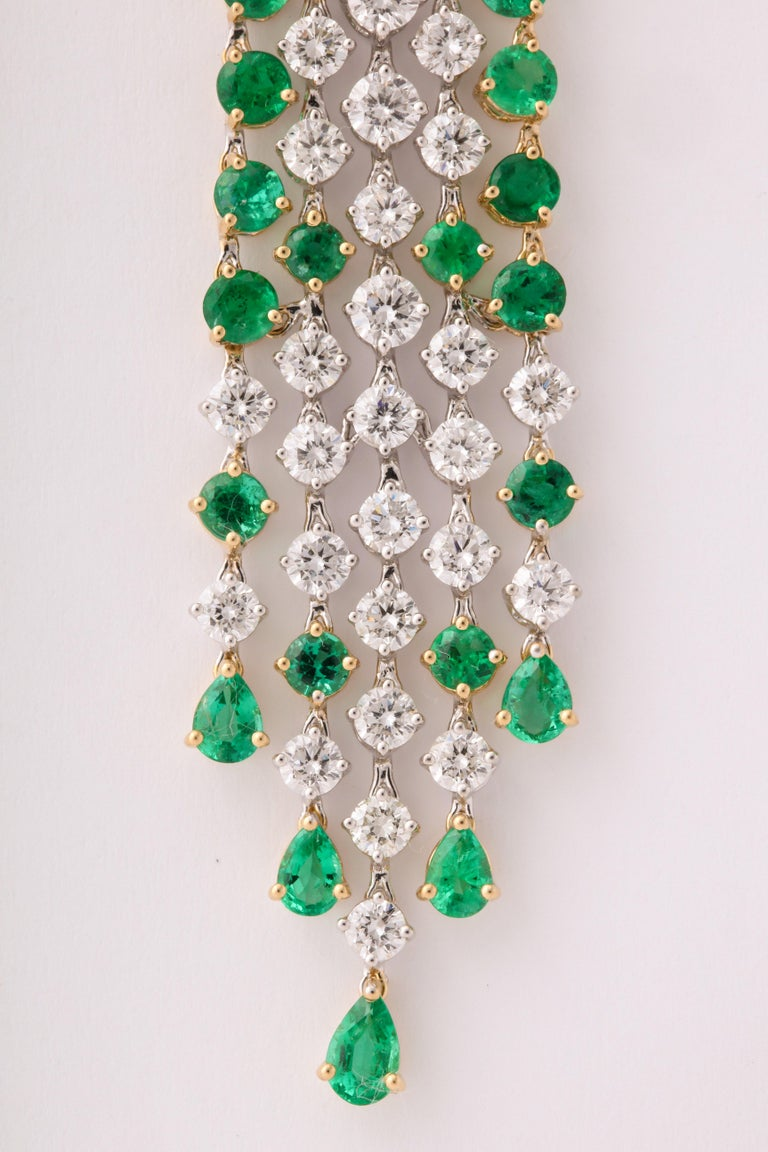 Green Emerald and Diamond Earrings For Sale 6