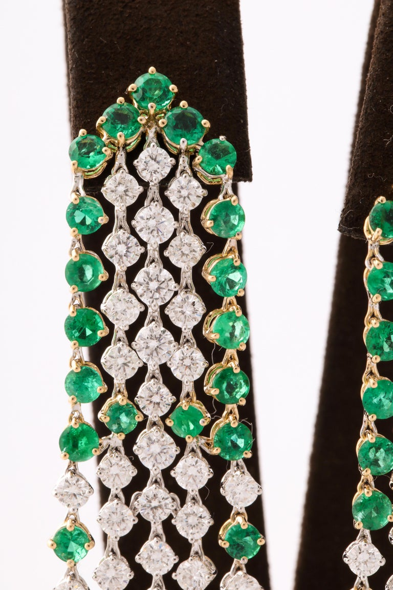 Green Emerald and Diamond Earrings For Sale 1