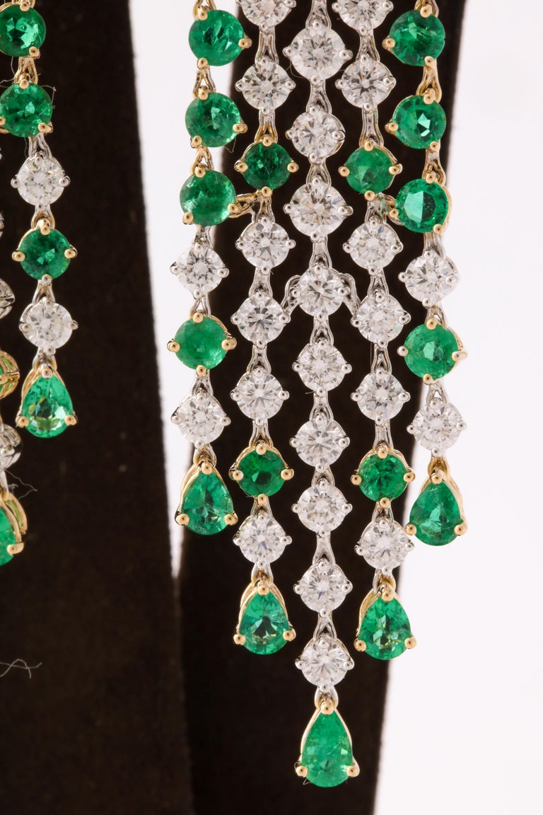 Green Emerald and Diamond Earrings For Sale 2