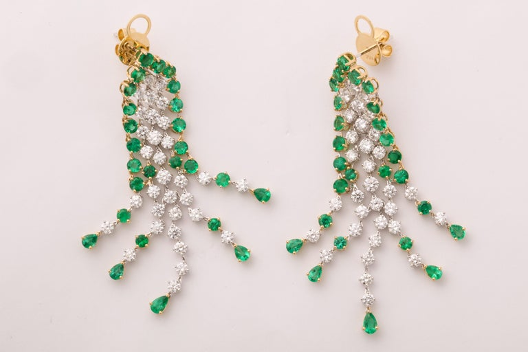 Green Emerald and Diamond Earrings For Sale 3