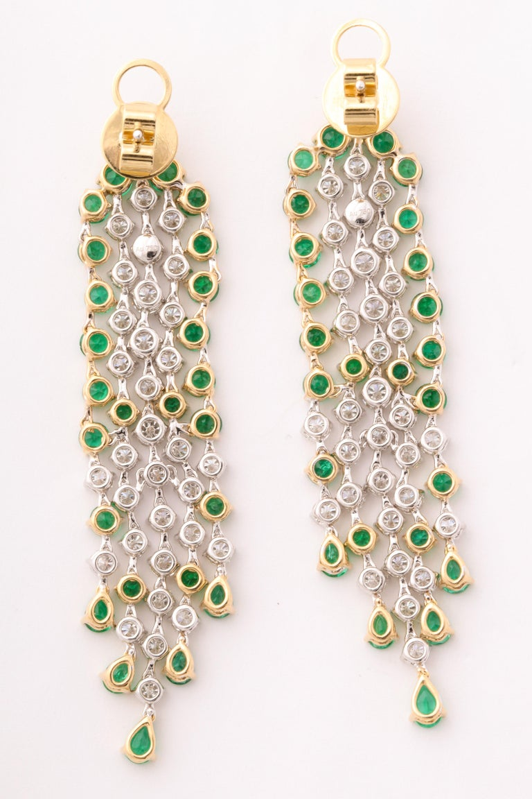 Green Emerald and Diamond Earrings For Sale 4