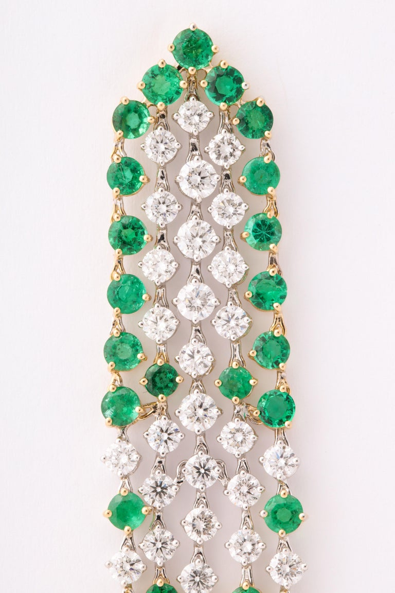 Green Emerald and Diamond Earrings For Sale 5