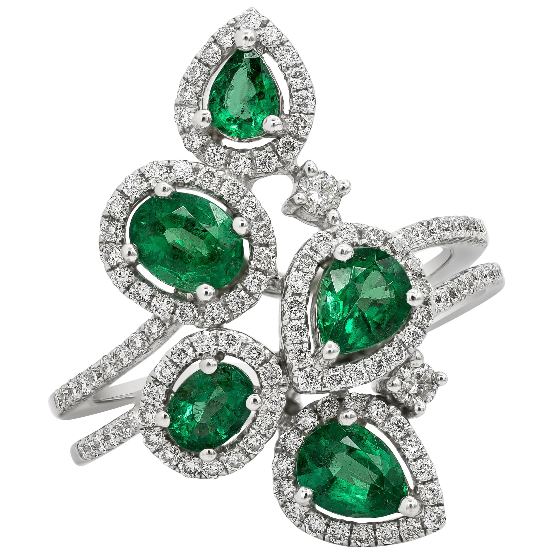 Green Emerald and Diamond Halo Fashion Ring