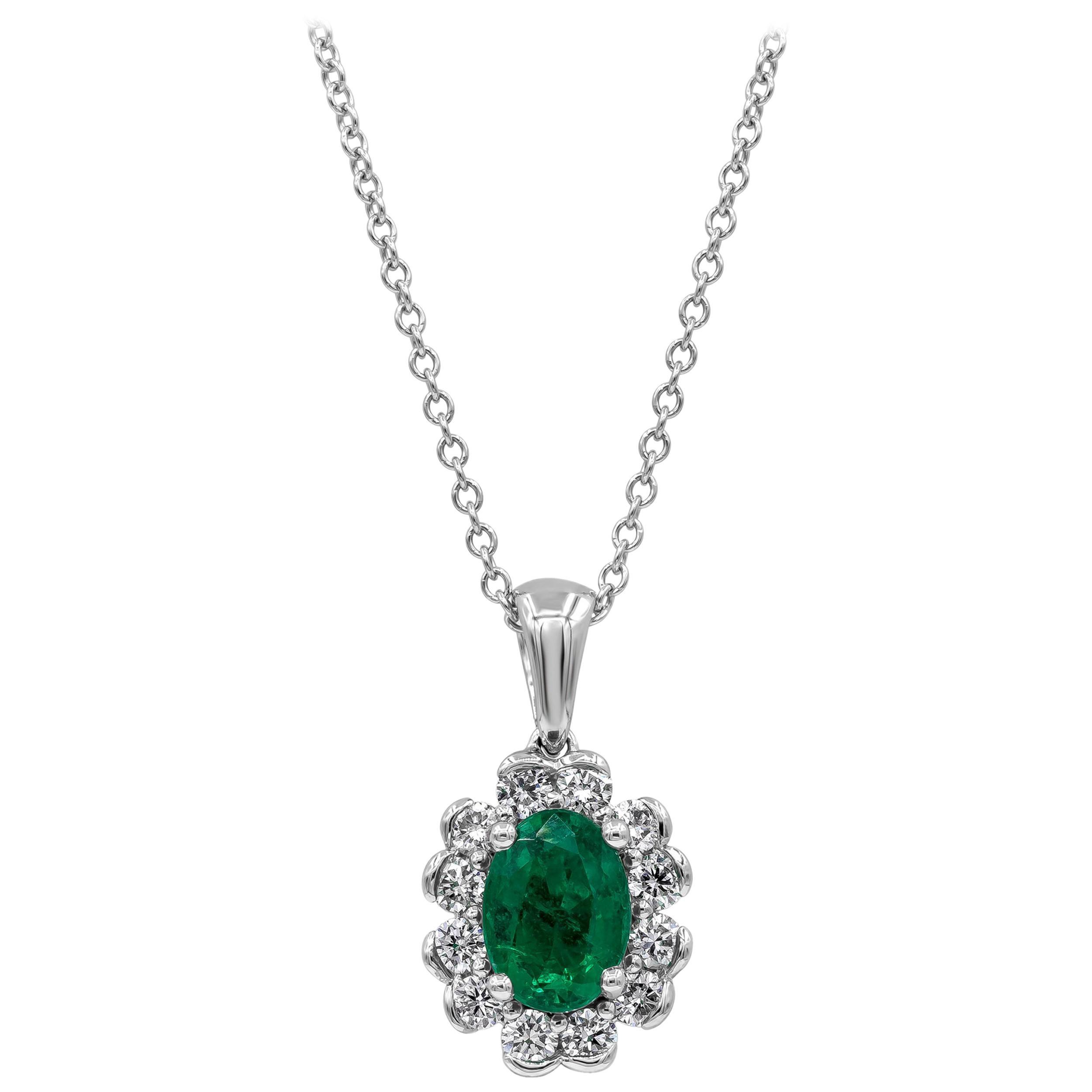 Roman Malakov Green Emerald and Diamond Halo Pendant Necklace