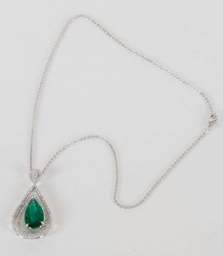 Women's Green Emerald and Diamond Pendant For Sale