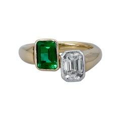Green Emerald and Emerald Cut Diamond Bypass Ring
