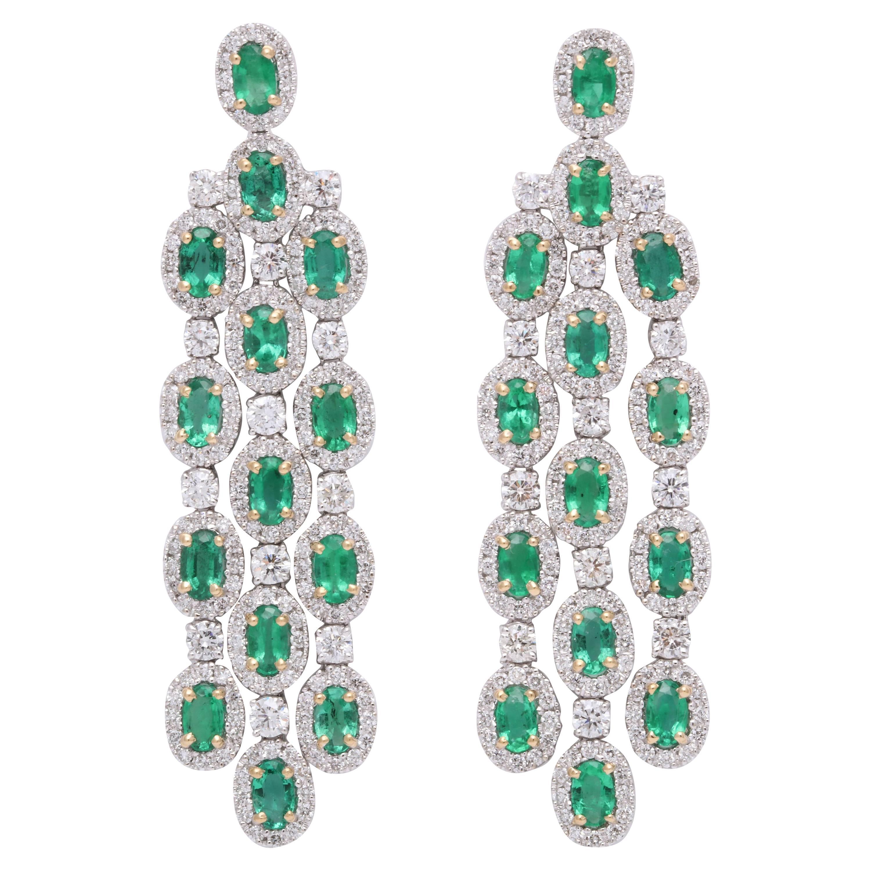 Green Emerald Chandelier Earrings
