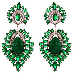 Green Emerald Chandelier Earrings Grey Rhodium