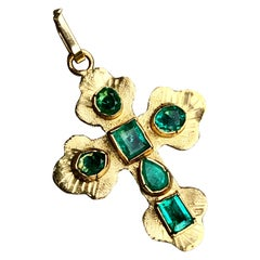 Green Emerald Cross Charm Pendant 18 Karat