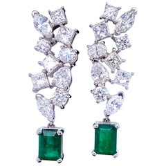 Green Emerald Cut Diamond Cluster Drop Earrings 9.74 Carat 18 Karat White Gold