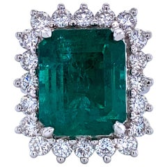Green Emerald Cut Diamond Cocktail Ring 14.45 Carat 18 Karat White Gold