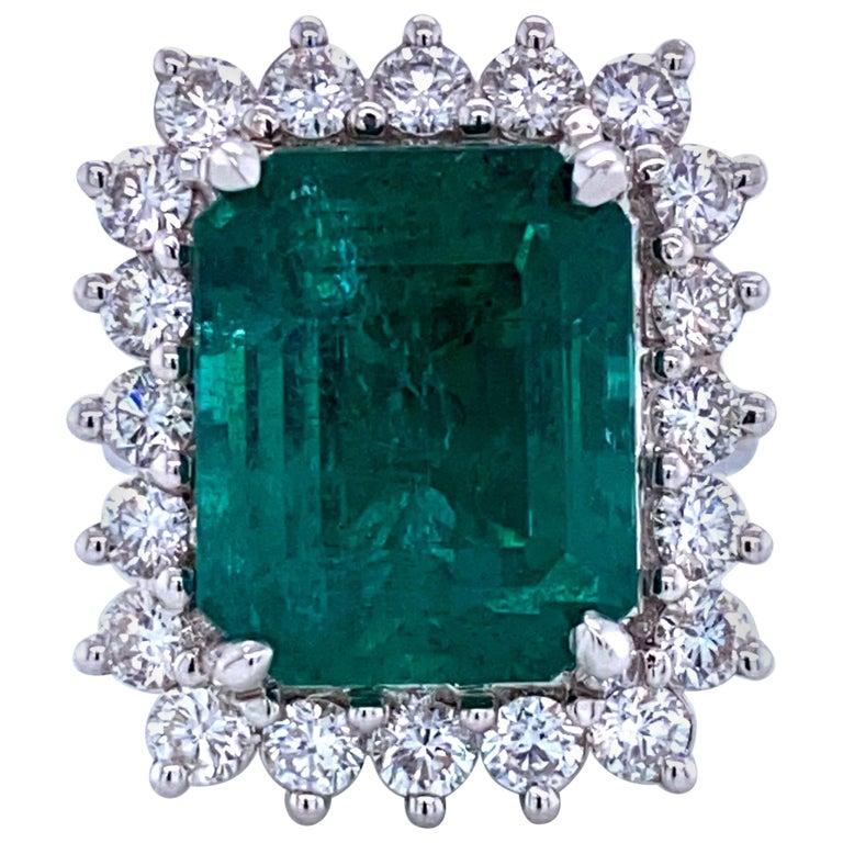 Green Emerald Cut Diamond Cocktail Ring 14.45 Carat 18 Karat White Gold For Sale