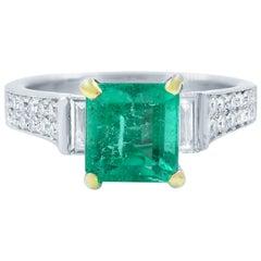 Green Emerald Diamond Engagement Ring 1.71 Carat White Gold