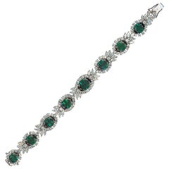 Green Emerald Diamond White Gold Link Bracelet