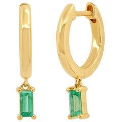 Green Emerald Drop Huggie Earrings, Gold, Ben Dannie