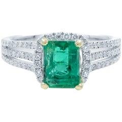 Green Emerald Halo Engagement Ring White Gold Diamonds