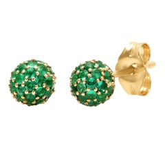 Green Emerald May Birth Stone Disco Ball Earrings, Gold, Ben Dannie